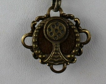 Perfume Button Necklace - Antique Victorian 1800s Ornate Brass & Velvet Scent Jewelry