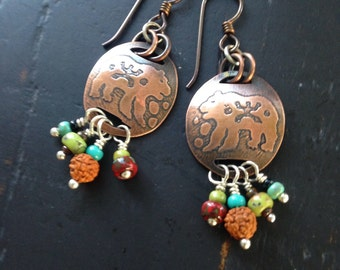 Bear Spirit Copper Earrings