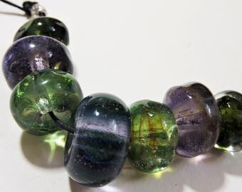 Lampwork Glass Borosilicate Beads LAVENDER GARDEN Two Sisters Designs 041017F