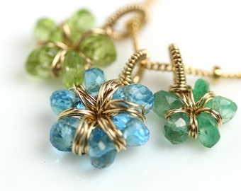 Flower Charm Necklace in Swiss Blue Topaz, Peridot and Emerald