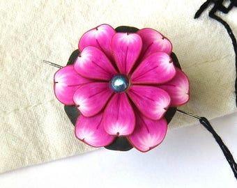Pink Flower Needle Minder, Magnetic Needle Nanny Handcrafted from Claybykim