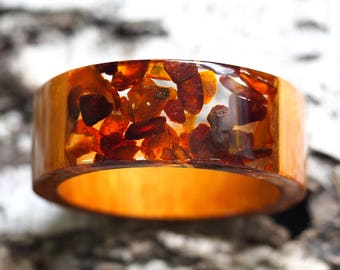 Amber Bracelet, Clear and Copper Color Resin Bangle with Amber, Original Baltic Amber Jewelry