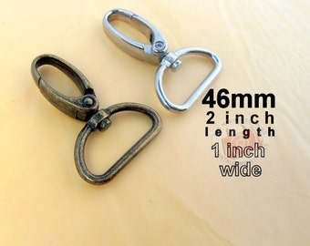 2 Pieces Swivel Spring Hooks - 2 inch long / 1 inch webbing capable (available in nickel and antique brass finish)