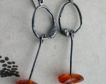 Organic O Sterling Silver Earrings – Amber