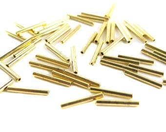 Vintage Gold Plated On Brass Tube Beads (40x) (V366-C)
