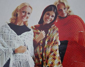 Crochet Patterns Shawls Knitting Patterns Carefree Shawls by Beehive Patons 2096 Women Vintage Paper Original NOT a PDF