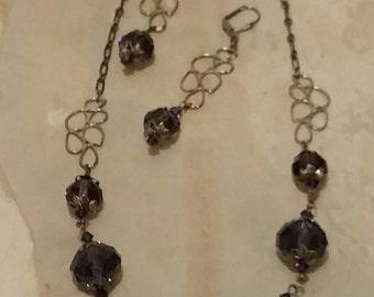 Deep Purple Crystal Chain Link Necklace and Earrings