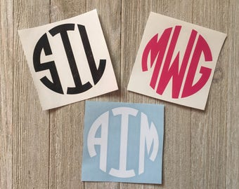 Personalized Circle Monogram Vinyl Decal,Car Decal,Laptop Decal,Tumbler Decal,Notebook Decal,Glass Decal,3 Sizes to Choose From