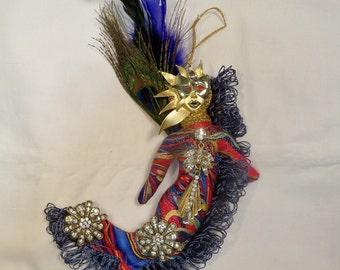Ooak JEWELRY  DAZZLER fantasy cloth art doll 7 by 7 in.