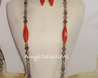 Taper Red Sponge Coral, Autumn Garnet, Pearls, & Czech Glass Rondelles Necklace and Earring Set