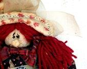 ON SALE OOAK cloth doll handmade- Big Feet little witch