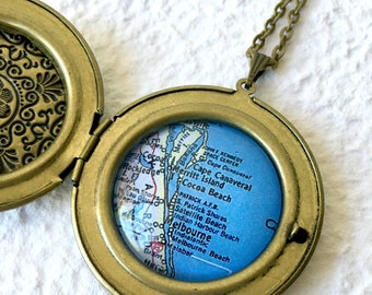 Cocoa Beach Map Locket Necklace - featuring Melbourne, Melbourne Beach, Cape Canaveral, Merritt Island, Rockledge, Florida and more