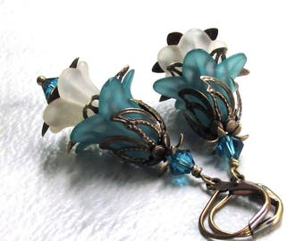 Teal & Cream Flower Earrings Antique Brass Leverbacks Layered Lucite Swarovski Crystals - Handmade Spring Floral Jewelry