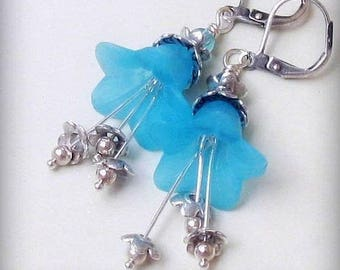 Electric Blue Lucite Flower Earrings, Sterling and Tibetan Silver Dangles, Leverback Earwires, Delicate Floral Jewelry