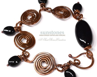 Hand Forged Rustic Copper and Onyx Bracelet B1872