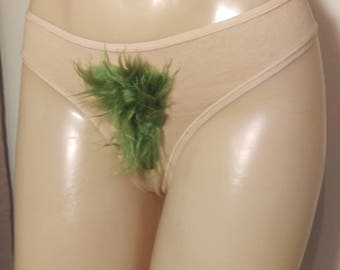 Size Large Merkin Thong Back Green Fluffy Pubic Hair Merkin15