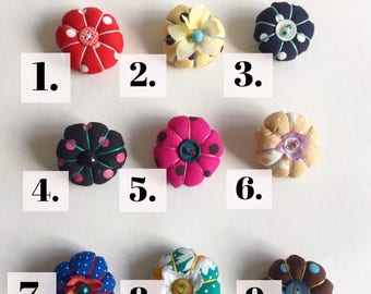 SALE Japanese Button Brooch Pin Badge made from vintage & modern fabric