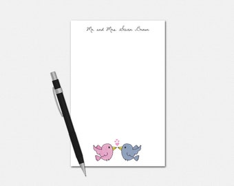 Personalized Notepad, Love Birds Notepad, Personalized Notepad for Couples, Couples Stationery