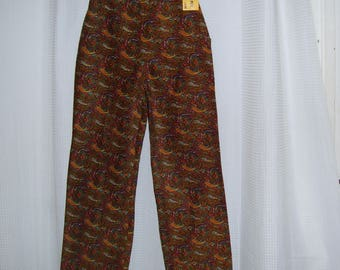 High Waist Paisley Pants NOS NWT Pants Corduroy 1970s 70s Vintage Vtg Retro Hippie Boho Stove Pipe Brown Blue Gold Paisley Adult 12 25 wst