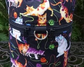 Cat knitting project bag, drawstring bag, knitting in public bag, small project bag, Rainbow Cats, Kipster
