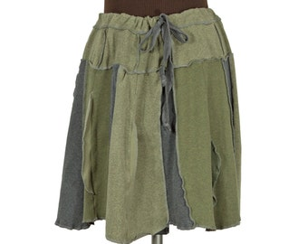 flared mossy olive green upcycled skirt - short, with drawstring
