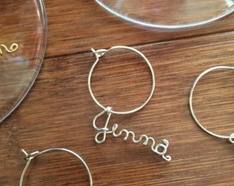 Jenna, Personalized Name for Wine Glass - Single 1 wine charm ready to ship