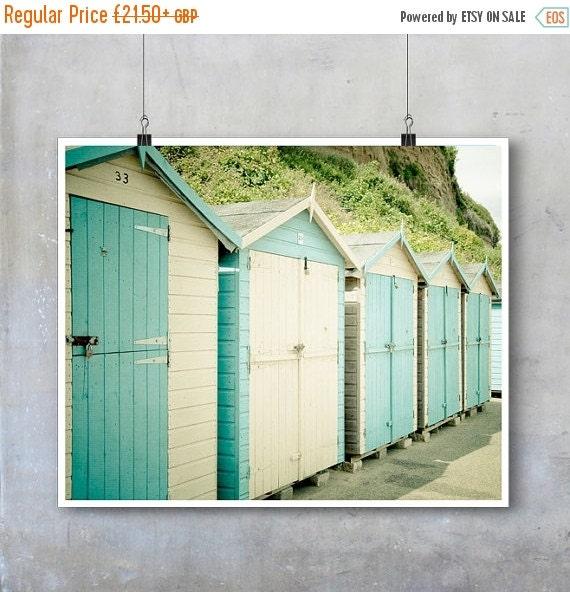 Beach Photography - Duck egg blue and white beach huts English seaside - 10x8 16x20 22x26 inch photograph photo fine big print poste