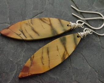 Cherry Creek Jasper Earrings. Gemstone Earrings. Feather Shaped Earrings. Sterling Silver Jewelry. Jasper Earring.