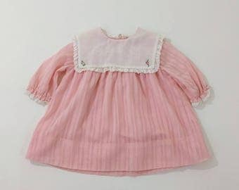 Vintage Miss B Pink Gauzy Cotton Toddler Girls' Dress with Bib Collar with Lace Trim & Flower Applique, Short Sleeves, Size 12 - 18 Months