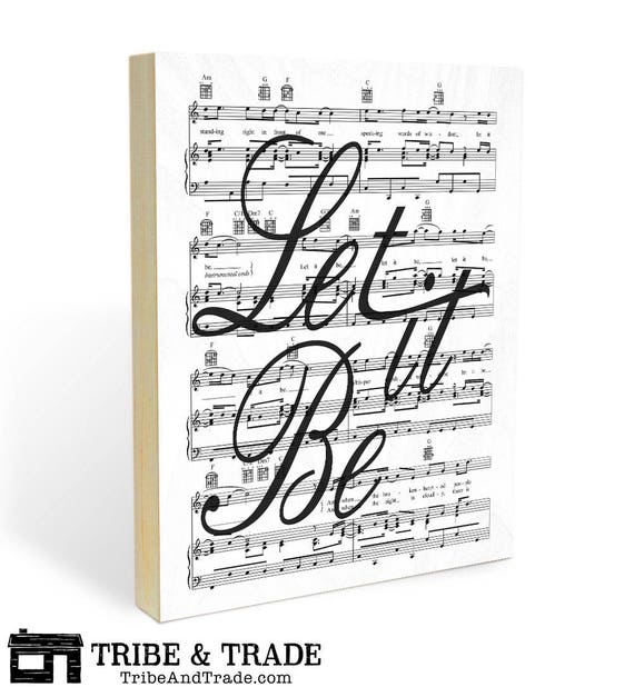 """Beatles Song Lyric and Sheet Music Wood Wall Art Print - 8x10 or 11x14 """"Let It Be"""" on Ready to Hang Wooden Panel Wall Decor"""