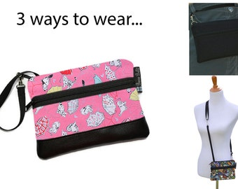 Cell Phone Purse - Fanny Pack or Wristlet - Cell phone Cross body Bag - Small Cross body Purse - Long Zip Phone Bag- Fancy Cats Fabric