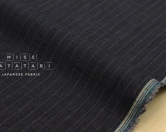 Japanese fabric 100% linen yarn dyed pinstripes - dark blue - 50cm