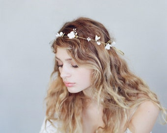 Bridal clay flower headpiece - Simple sugar blossom hair vine - Style 738 - Made to Order