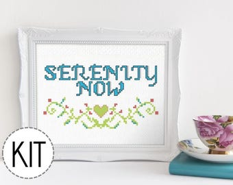 Funny Cross Stitch Kit - Serenity Now - for Seinfeld Fans Beginner Cross Stitch Kit DIY Embroidery Kit Needlepoint Subversive Cross Stitch