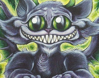 "Cat, Cthulhu, Lovecraft, Art Print, Signed glicee, fantasy, gothic, cute, ""Arkham Furrball"""