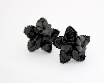 Black Rose Earrings - Flower bouquet studs with vintage star shaped flower cabochons