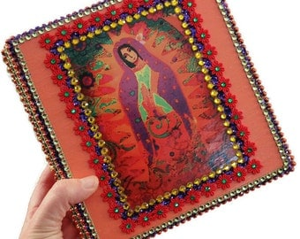 Our Lady of Guadalupe Jewelry Box Mexican Folk Art Wooden Box