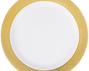 White Plastic Plate with Gold Lattice Design-Set of 15-NEW-7 in. round