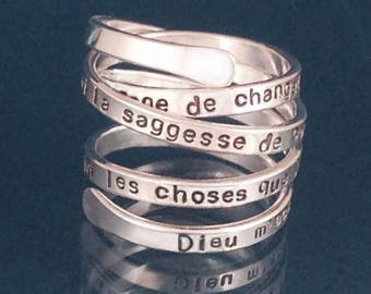 French Version Serenity Prayer Ring Foreign Language by donnaodesigns