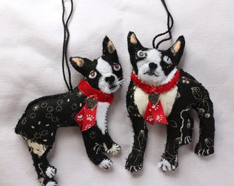 Your Boston Terrier Custom Made - Quilty Critter Doggy - Pets, Dogs, Breeds - Ornament, Love Token, OOAK, Folk Art