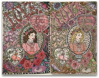 Valentine coloring page hand drawn and collaged from vintage text