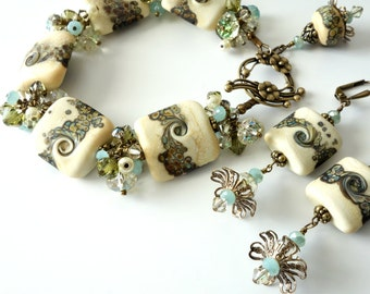 Lampwork Bracelet and Earrings, Cream, Olive Green, Aqua, Swirls, Antique Brass, Two Piece Set, Beaded Lampwork Jewelry, Gift for Her, OOAK