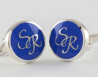 Round Monogram Cufflinks in Sterling Silver and blue enamel, personalized