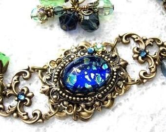 Starry Night Blue Glass Opal Bracelet Vintage Style Bracelet