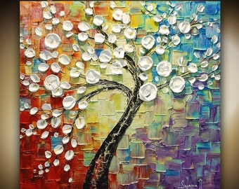 ORIGINAL Large Contemporary White Cherry Blossom Tree Painting Modern Multicolored Gallery Fine Art by Susanna 30x30 Ready to Hang