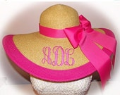 Cyber Hat Sale Monogrammed Natural Floppy Hat HOT PINK , Cup race, Beach, Foxfield,  Bride, Wedding, Honeymoon or Bridesmaids, Sun, Beach, D