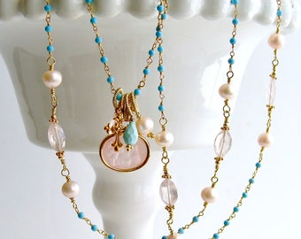 Sleeping Beauty Turquoise Rose Quartz Venetian Glass Intaglio Necklace - Treia Necklace