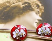 BLOSSOM 1950s BUTTON hair pins, Japanese enamel flowers in white & red on silver bobby pins, hair grips, present gift.