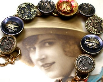 """Pharaoh, 1800s BUTTON bracelet, Victorian scenic buttons with Egyptians, pyramids, lions. 7.25"""" Antique Button Jewellery, present gift."""