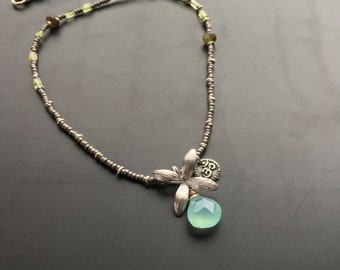 Handmade sterling silver necklace by Lori Lochner Chrysoprase flower bud jade and peridot layering necklace